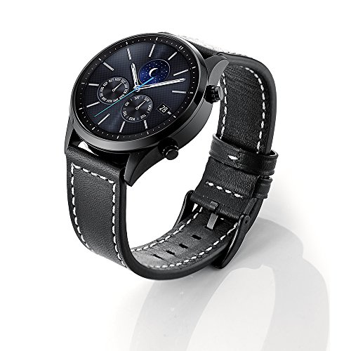 Sundaree Correas Galaxy Watch 46mm/Gear s3 Frontier/S3 Classic,Sundaree Cuero Reemplazo Banda Pulseras de Repuesto Correa de Reloj Inteligente para Samsung Galaxy Watch 46mm/Gear S3(S3,Black Leather)