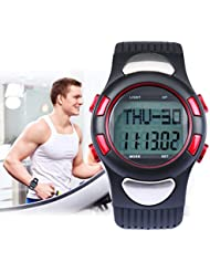Aursen Multifunction LED Armbanduhr Herzfrequenzmessgerät Pulsmesser mit Schrittzähler Trainingszeit Sportuhr Stoppuhr Wasserdicht Wecker Alarm