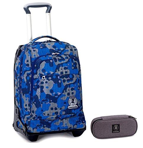 f0217dbea6 ... elementari e medie 28 lt. Trolley Tech Invicta + Portapenne -  Camouflage Blu - 2in1 Carrello sganciabile Zaino 34 LT Scuola