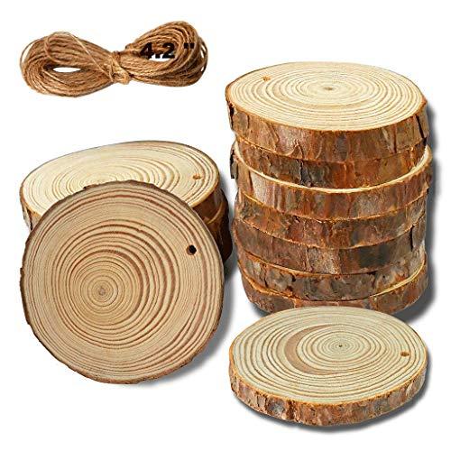 YuQi Holzscheiben 12 Stücke Unbehandeltes Holz Log Scheiben Rund 7-8 cm und Frei 5 mt Jute Seil Holz Deko Basteln Baumscheiben Natur zum Basteln Bemalen für DIY Handwerk Hochzeit Weihnachten Deko