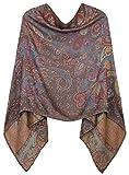 dy mode Damen Poncho/Cape aus weicher, Leichter Viskose in Paisley Blumen Muster - WJ062 (WJ200-Chestnut)