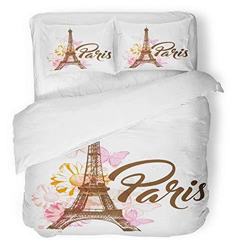 3-teiliges Bettbezug-Set atmungsaktives gebürstetes Mikrofasergewebe Orange Paris Abstract mit Eiffelturm-Blumen und Schmetterlingen Rosa Fleck Daisy-Bettwäsche-Set mit 2 Kissenbezügen, Full / Queen-S (Flecken Schmetterling Bettwäsche)