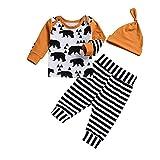 Hawkimin Neugeborenes Baby Baby Cartoon Bär T Shirt Tops +gestreiften Hosen+Hut Kleidung Set