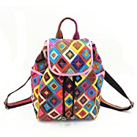WANGWO High Quality Womens Real Cowhide Leather Backpack Diamonds Pattern Flap Knapsack