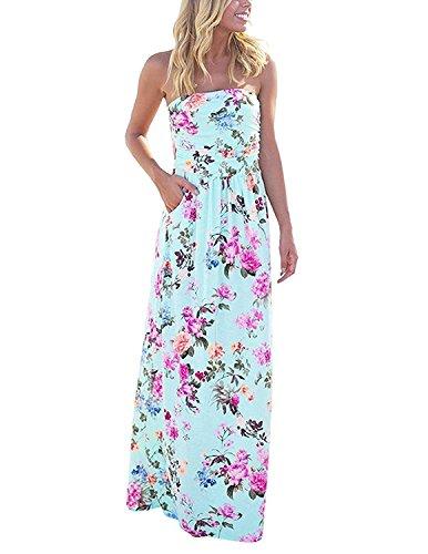 carinacoco Damen Bandeau Bustier Kleider mit Blüte Drucken Lange Sommerkleid Abendkleid Partykleid Cocktailkleid Geblümt S