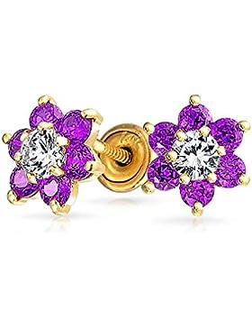 Bling Jewelry Gold 14k simulierten Amethyst CZ Blume Baby Sicherheit Ohrringe