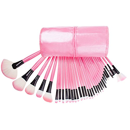 Denshine Ensemble de brosse à maquillage Pro Fondation Poudre Blush Ombre à paupières Eyebrow Eyeliner Lip Brushes Kit Cosmetic Tools makup brush (32PCS)