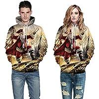 TING Gran tamaño Parejas Santa Pirata Digital 3D Printed Hooded Sweater,S