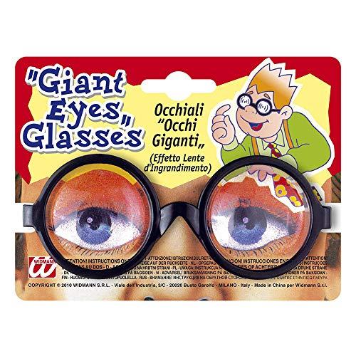 Lustige Für Kostüm Lehrer - Widmann 4970L Brille Riesenaugen, Unisex- Erwachsene, Schwarz