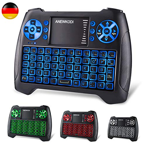 ANEWKODI Mini Tastatur mit touchpad, Smart TV Tastatur Fernbedienung, QWERTZ Tastatur Layout, Plug and Play, Mini Tastatur Beleuchtet für Smart-TV, HTPC, IPTV, Android TV-Box, XBOX360, PS3, PC Da Telefon-system
