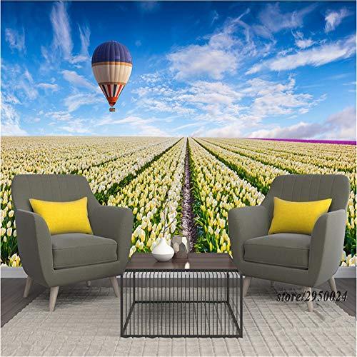Sucsaistat Tapete Wandbild 3D Hintergründe 3D Tulip Blume Meer Heißluftballon Umweltfreundlich Desktop Hintergrund, 200 * 140 cm