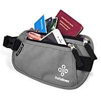 Premium Travel Waist Bag with RFID protection for Women & Men | Light Money Belt | Hip Pouch for Sports & Trips | Flat & spacious Belt Bag (Grey)
