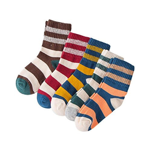 Perfect for Age 1-12 Kids, Xshuai 5 Pair Fashion Cute Infant Newborn Toddlers Kids Baby Girls Boys Stripe Patchwork Knitting Cotton Socks Stocking Children Casual Socks (4-8 Years Old, Multicolor)