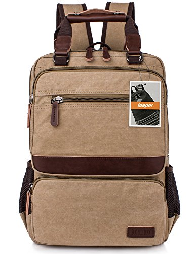 Leaper Retro Vintage Canvas Backpack Computer Bag College School Travel Bag Casual Daypack Rucksack Khaki