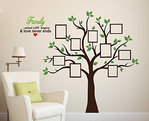 Wallstick Family Tree with Photo Frames wallstickers (Vinyl 110 cm x 95...
