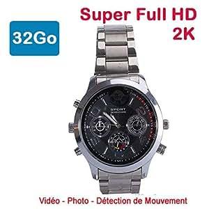 Cyber Express Electronics–Orologio Mini videocamera Spia 32GB 2K Super Full HD 2304x 1296P rilevamento di Movimento cel-dwf-74s-32