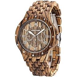 Greentreen Multifunction Movement Men's Wooden watches Zebra wooden