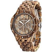 GREENTREEN braccialetto di legno del cronografo da uomo orologi movimento multifunzione orologi con zebra legno