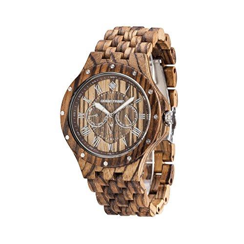 GREENTREEN 5ATM Wasserdicht Herren Holz Uhren mit Zebrano Sandelholz Holz Armbanduhren Multifunktionsuhren Herren
