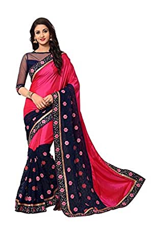 Online Fayda Women's Georgette Saree with Blouse Piece, Free Size(OF294, Multicolour)