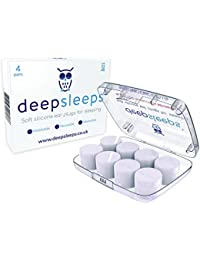 Ear Plugs for Sleeping by Deep Sleeps (4 Pairs) Reusable & Custom Fit Soft Silicone Earplugs - The Best Ear Plugs for Sleeping