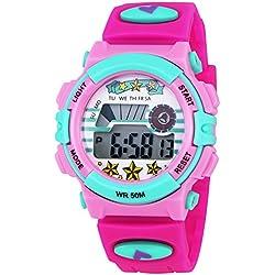 ZEIGER Kinderuhr Digital Sportuhr Datum Alarm Chronograph Armbanduhr Mädchenuhr KW064
