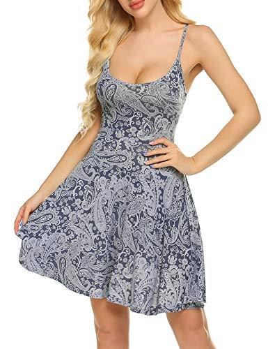 Unibelle Damen Nachthemd Negligee Sexy Nachtkleid Baumwolle Unterkleid Kurz Spitze Nachtwäsche Sommer Bequem V Ausschnitt Trägerkleid Navyblau...