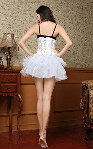 MISS MOLY Unterbrustkorsett|Damen Sexy korsage 16 Spiralstahlstäbe Sexy Transparente Spitze Design Mit G-String Schwarz/Weiß/Rot/Beige Weiß