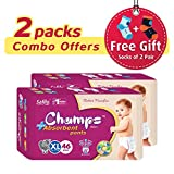 #2: Champs High Absorbent Premium Pant Style Diaper (Pack of 2)(Free 2-Pair Socks)| Premium Pant Diapers | Premium Diapers | Premium Baby Diapers | anti-rash and anti-bacterial diaper | (X-Large, 46)