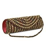 Funkia Women's handcrafted, ethnic, designer, golden bead work silk Party Clutch - Multi color