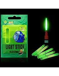 5pcs 4.5* 37mm Float Glow Stick Night Fishing Green Fluorescent Light, Irradiation:30m, 5 piezas