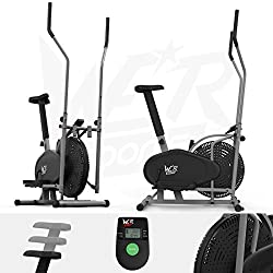 We R Sports 2-in-1 Elliptical Cross Trainer & Exercise Bicycle Fitness Cardio Training With Seat (Silver)