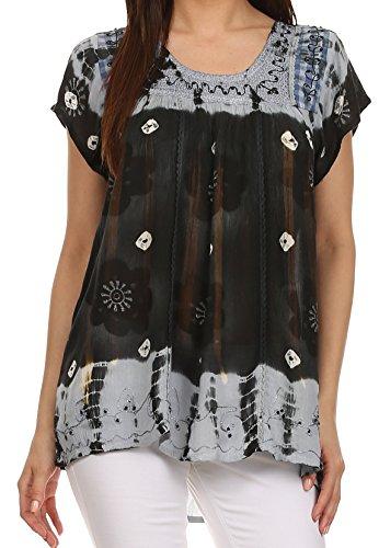 Hals-bauer Bluse (Sakkas 43614 - Kurzarm Krawatte Färbung Gingham Bauer Top mit Pailletten Stickerei - Schwarz - OS)