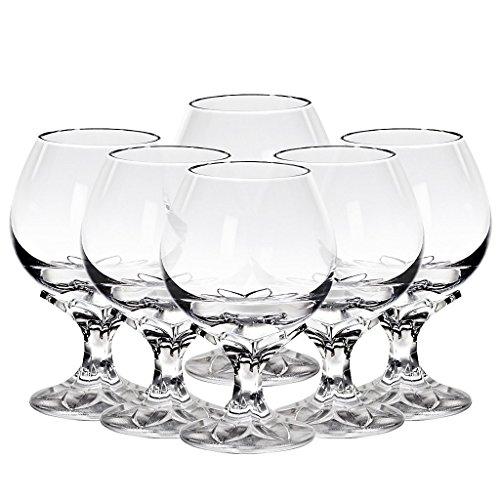 "6 x Cognacschwenker, Cognacglas, Schwenker ""AORA"" Blüte, transparent, Bleikristall, 13 cm, moderner Style (GERMAN CRYSTAL powered by CRISTALICA)"