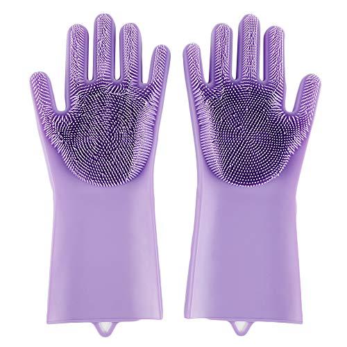 Geschirrspülhandschuh, Silikon-Handschuhe, Gummi-Waschhandschuhe, umweltfreundlich violett - Geschirrspüler Desinfizieren