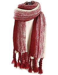 Femme Fille Couleur de Dégradé Couleur de Contraste Extra Longue Très Épais  Écharpe tricotée Glands Tassel 0d25896e517