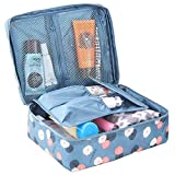 Cosmetic Bag Beauty Case Makeup Bag, Beauty Bag Travel Pouch Bag, Cosmetic Organizer Make Up Toiletry Bags Organiser Purse Handbag with Handle Waterproof Personalised for Women, Ladies & Girls Blue.