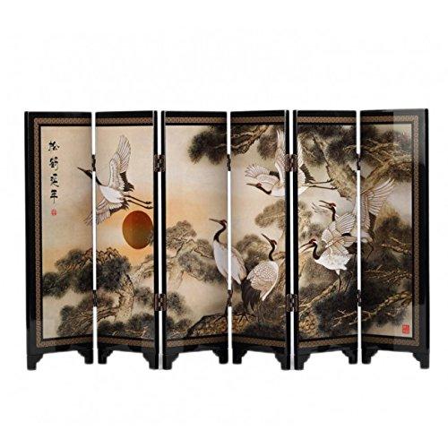 PARAVENT CHINOIS De DECORATION - Motif Pins et Grues - Symbolisme Longévité - 24 cm de Hauteur
