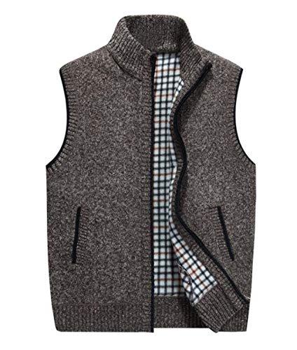 PFSYR Ärmellose Herren Weste, Herren Wolle Weste, Dicke warme Strickweste, Pullover (Farbe : Brown, größe : 4XL) -