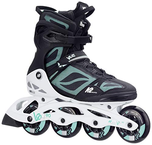 K2 Damen Fitness Inline Skates VO2 90 Pro W - Schwarz-Weiß-Grau - EU: 39.5 (US: 8.5 - UK: 6) - 30C0016.1.1.085