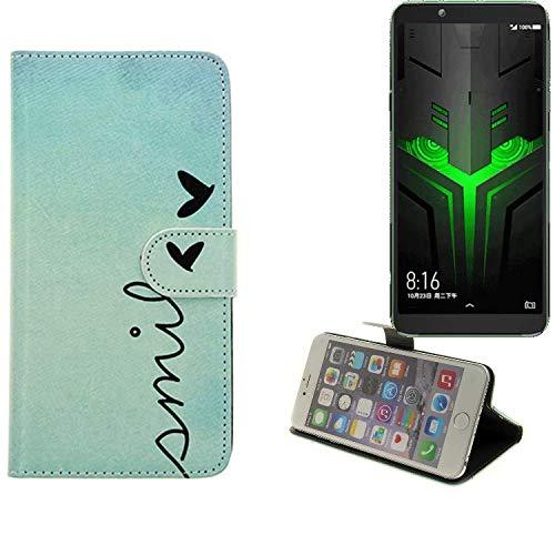 K-S-Trade® Für Xiaomi Blackshark Helo Wallet Case Schutz Hülle Flip Cover Tasche ''Smile'', Türkis
