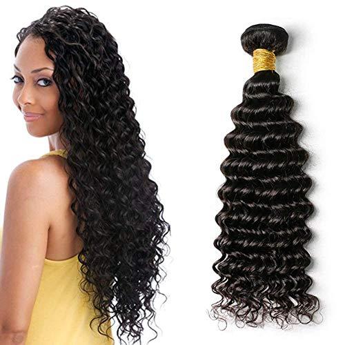 Ugeat Tief Wellig Weaving Echthaar Extensions 24 Zoll Real Human Haare Tressen 1 Bundle 100gramm 1b# Naturliche Schwarz