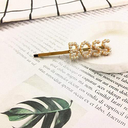 LKJH Haarspange 1 Stücke Englisch Brief Worte Imitation Perle HaarspangenGeschenk Zubehör, Boss
