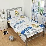 Kinder Bettwäsche mit Real Madrid CF Design (Einzelbett) (Weiß/Blau/Gelb)