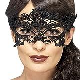 Mascherina veneziana Maschera gotica di pizzo nera Ornamento viso carnevale di Venezia Camuffamento faccia ballo in maschera Travestimento occhi di merletto Decorazione volto per festa da ballo