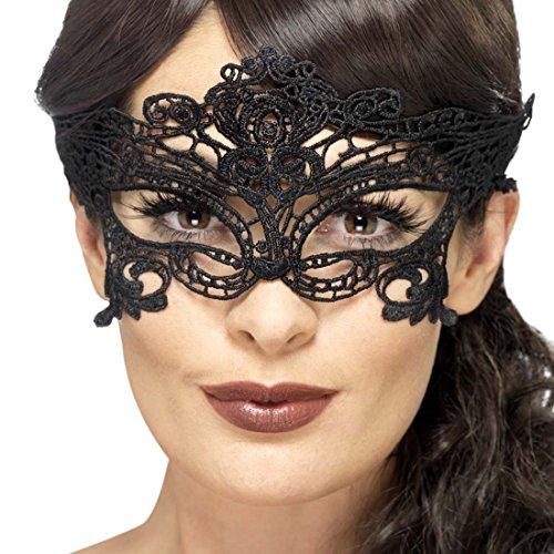 Amakando Antifaz Veneciana Máscara Encaje gótica Negro Accesorio Carnaval Venecia Mascarilla Fiesta enmascarada Careta de Encaje Complemento Baile Veneciano