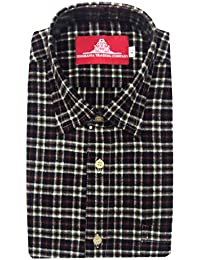 STC Men's Black Woolen Checkered Cottswool Winter Wear Full Sleeves Regular Fit Formal Shirt 0121