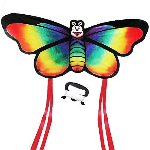 AGREATLIFE Drachen Bastelset für Kinder - Einleiner Flugdrachen - 44cm Spannweite - 2x2M Regenbogen-Drachenschwanz - 50M Lenkschnur - Drachen selber bauen (mit Anleitung) - Fliegt bei jeder Brise