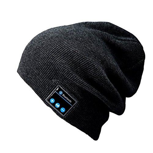 Preisvergleich Produktbild Bluetooth Wintermütze mit Bluetooth Stereo Kopfhörern Mikrofon Freisprechen und integriertem Akku Strickmütze kompatibel mit Smartphones/Handys iPhone iPad Laptops Tablets (Schwarz)