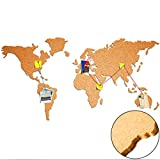 Weltkarte aus 100% Natur Kork ca. 100x55 cm - Pinnwand Selbstklebend | Wandbilder aus Kork | Holzdesign | Korktafel | Bilder Kontinente Welt Karte